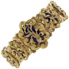Blue Enamel 18 Karat Yellow and Rose Gold Ornate Bracelet