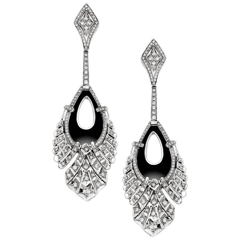 Diamond and Onyx Drop Earrings