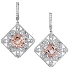 H & H 10.03 Morganite and Diamond Drop Lever-Back Earrings