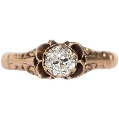 GIA Certified 0.49 Carat Diamond Rose Gold Engagement Ring
