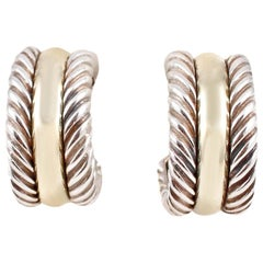 David Yurman Yellow Gold Sterling Silver Cable Collection Earrings