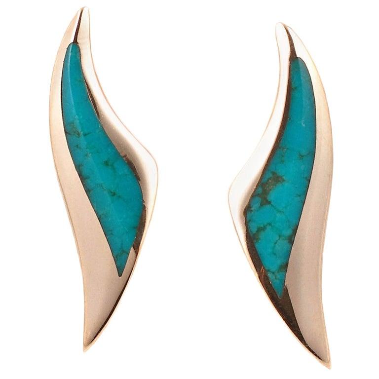 Kabana Yellow Gold Turquoise Earrings