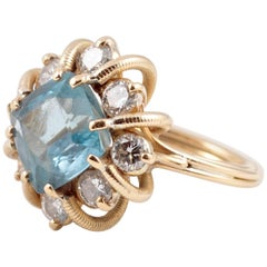 Fabulous 3.00 Carat Aquamarine 1.30 Carat Diamond Ring