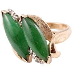 Natural Jadeite and Diamond Ring 18 Karat Yellow Gold