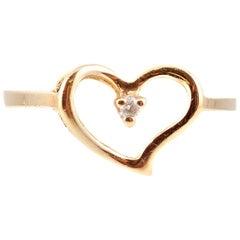 Heart Diamond Ring in Yellow Gold