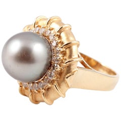 Stunning Natural Color Tahitian Pearl Diamond Ring