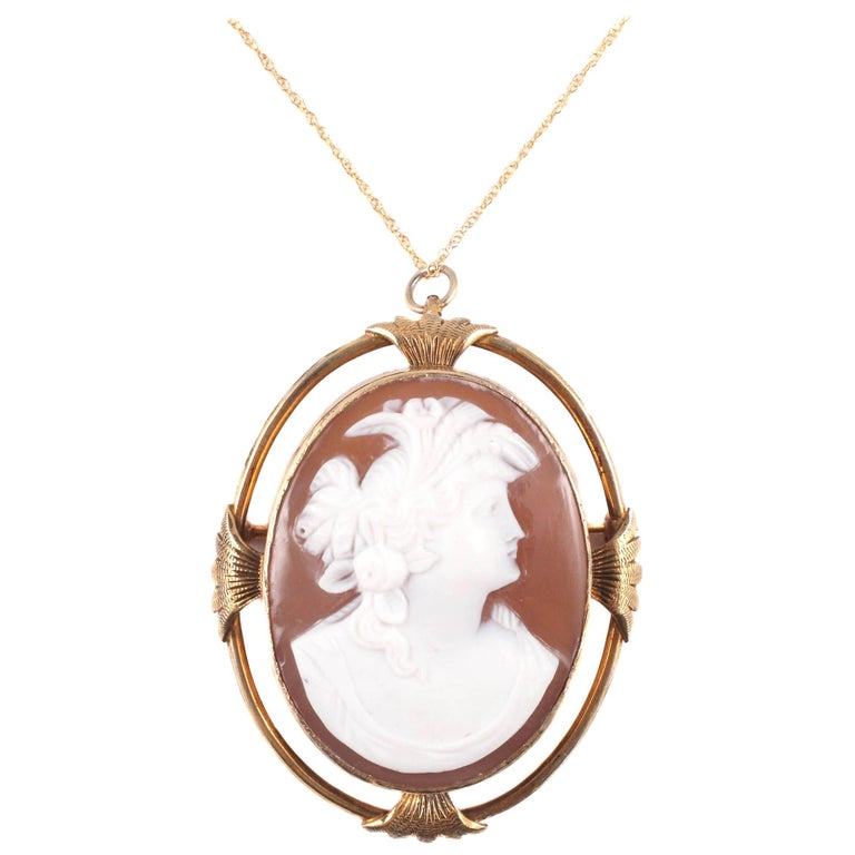 Victorian Gold Filled Shell Cameo Pendant