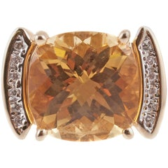 Fabulous Large Citrine and Diamond Ring