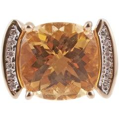 Fabulous Large Citrine and Diamond Ring