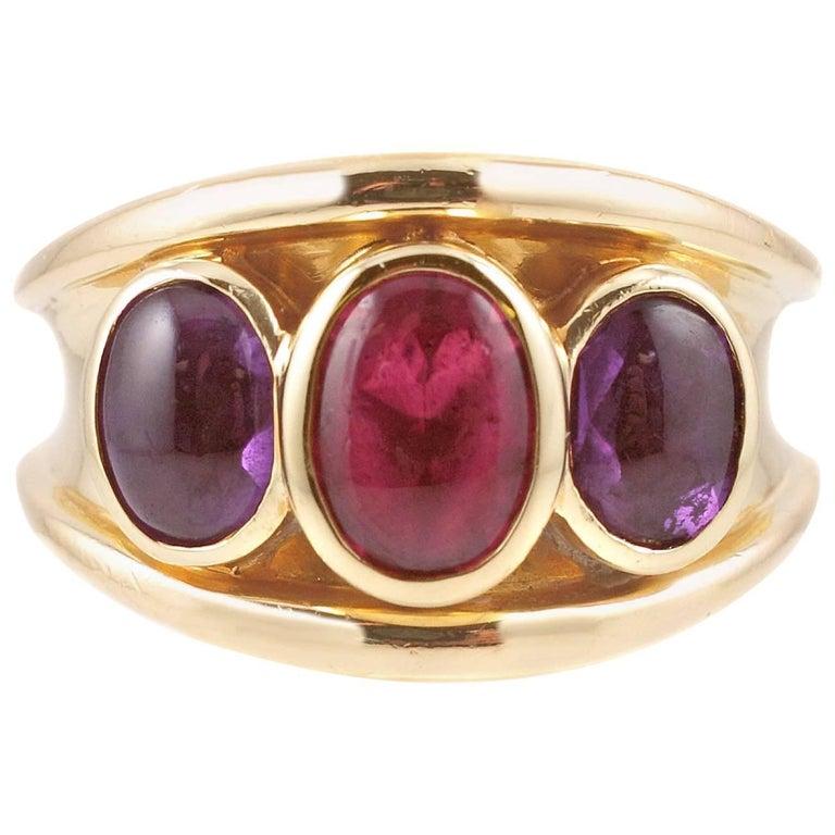 Amethyst Tourmaline Yellow Gold Ring