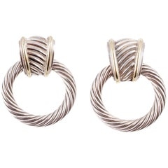 David Yurman Yellow Gold Sterling Silver Thoroughbred Doorknocker Earrings