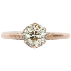 GIA Certified 1.00 Carat Diamond Yellow Gold Engagement Ring