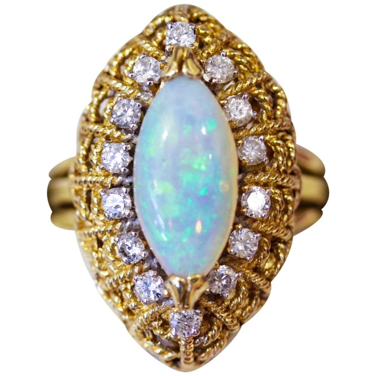 Vintage Marquise Shape Opal Diamond yellow gold Cocktail Cluster Ring