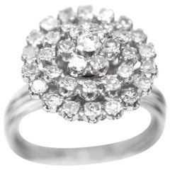 1940s Diamond Platinum Starburst Ring