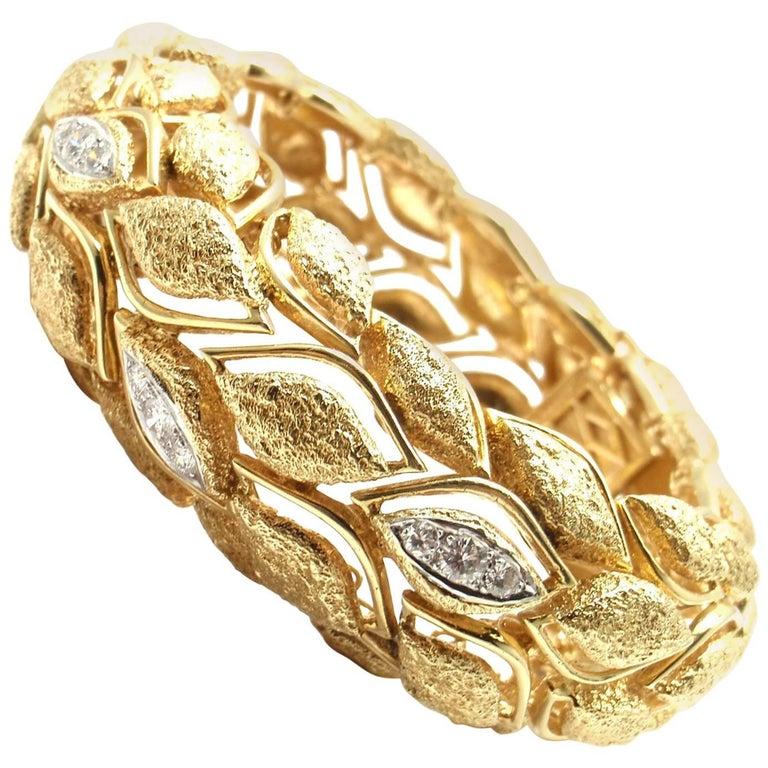 Estate French Diamond Wide Yellow Gold Bangle Bracelet