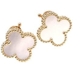 Van Cleef & Arpels Vintage Alhambra Mother-of-Pearl Yellow Gold Earrings