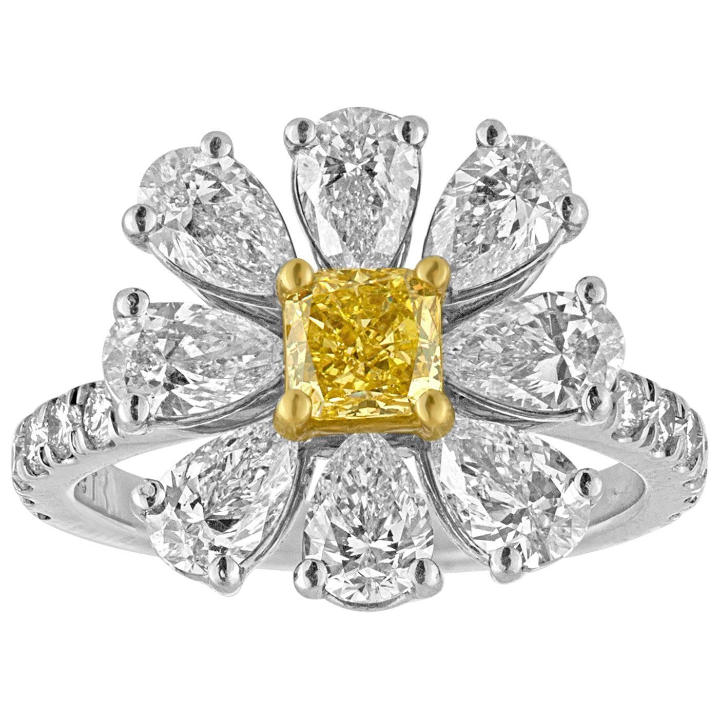 3.11 Carat Fancy Intense Yellow and White Diamonds Platinum Daisy Flower Ring