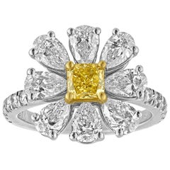 3.11 Carat Fancy Intense Yellow and White Diamonds Platinum Daisy Flower Ring