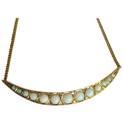 Victorian Opal Diamond Gold Crescent Moon Necklace