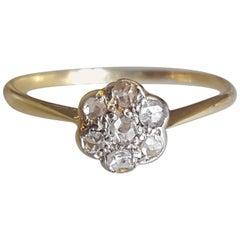 Edwardian Rose Cut Diamond Cluster Ring