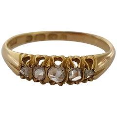 Edwardian Five Rose Cut Diamond Gold Ring