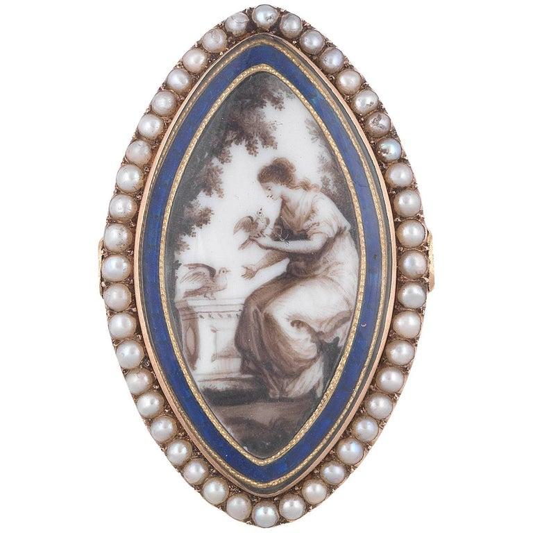 Georgian memorial pearl ring
