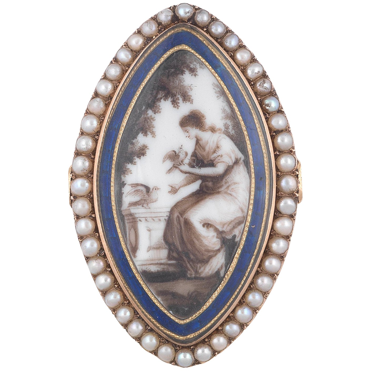 Antique Georgian Memorial Pearl Ring