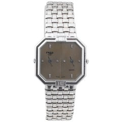 Fred White Gold Diamond Set Dual Dial Quartz Bracelet Wristwatch