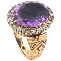 19th Century Amethyst and Diamond Bishop Ring