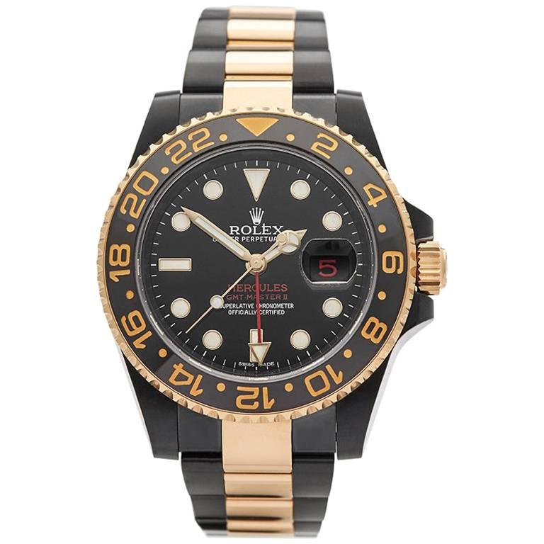 Rolex Yellow Gold DLC Coated Stainless Steel GMT-Master II Hercules Wristwatch