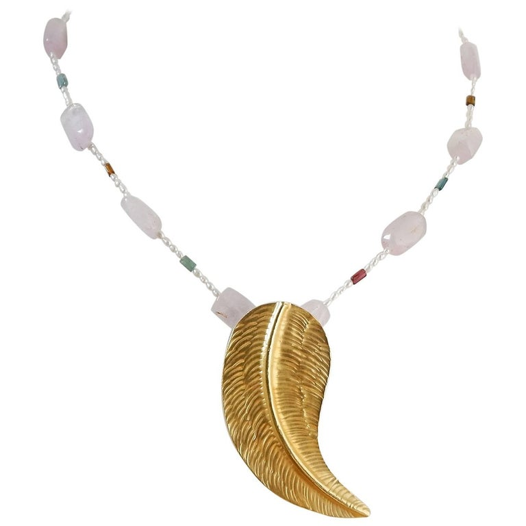 Dancing Apsara Kunzite Tourmaline Pearl and Yellow Gold Bead Necklace