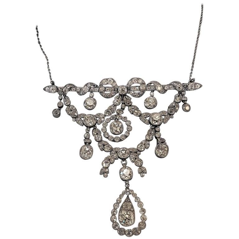 Belle Époque Platinum Diamond Necklace (Cartier Paris) 1