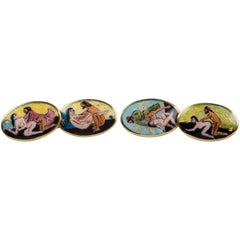 Double Erotica Cufflinks in Enamels and Gold