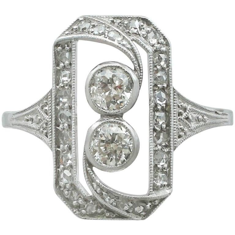 1920s Diamond and 18 Karat White Gold Dress Ring