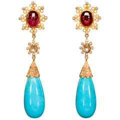 Dancing Apsara Diamond, Gold, Tourmaline and Turquoise Drop Earrings