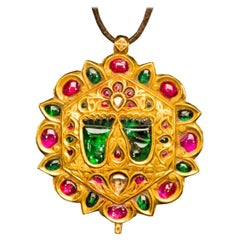 Diamond Ruby and Gold Rajasthan Pendant Necklace