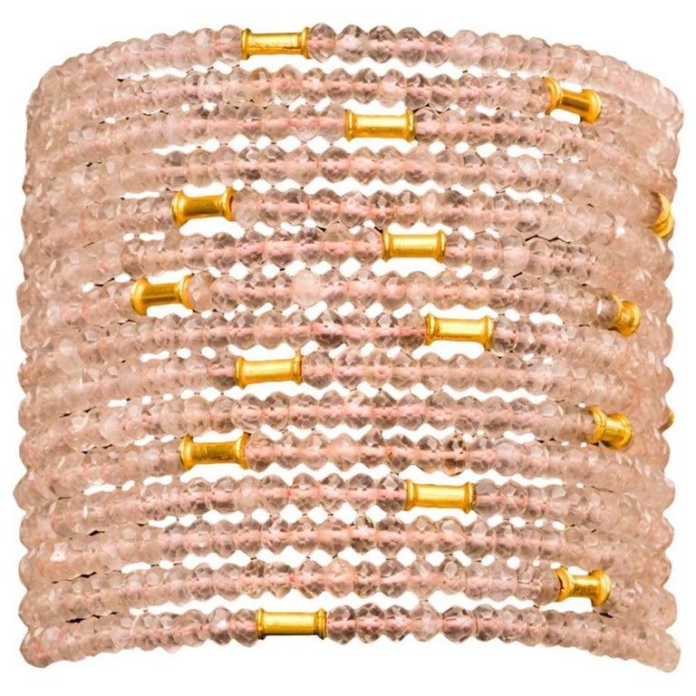 Dancing Apsara Rose Quartz and Gold Bead Cuff Bracelet
