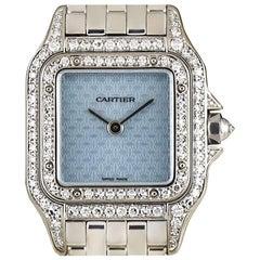 Cartier White Gold Diamond Set Panthere Blue Enamel Logo Dial Quartz Wristwatch