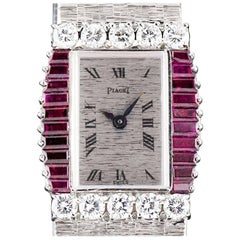 Piaget White Gold Ruby Diamond Bezel Manual Dress Wristwatch