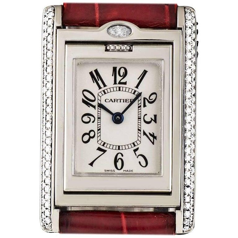 Cartier White Gold Diamond Set Tank Basculante Quartz Wristwatch Ref WA202751