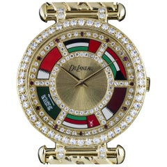 DeLaneau Yellow Gold Diamond Ruby Dial Middle Eastern Flags quartz Wristwatch