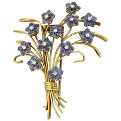 Van Cleef & Arpels Diamond Sapphire Flower Bouquet Brooch Pin