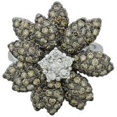 LeVian Chocolate White Diamond Flower Ring