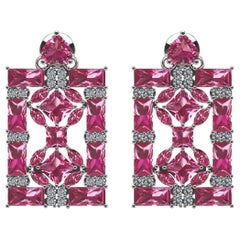 Juliette Wooten Baguette Pink Tourmaline Heart Diamond White Gold Earrings