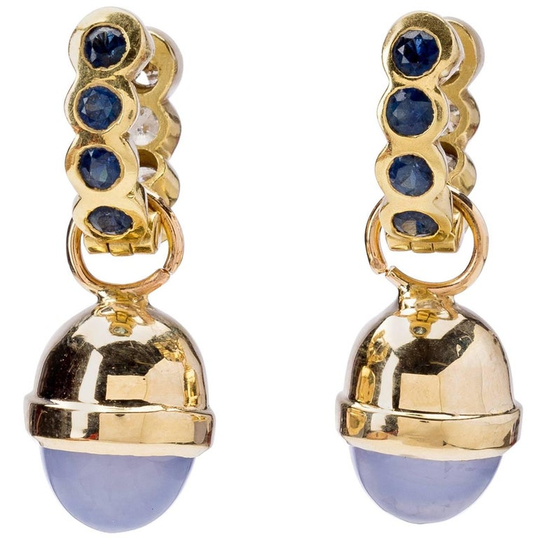 Chalcedony Drop with Sapphire Diamond Reversable Earrings