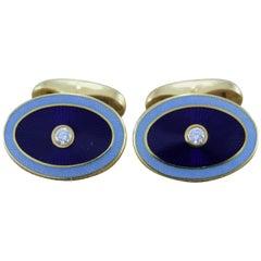 Modern Fabergé Diamond Enamel Gold Cufflinks