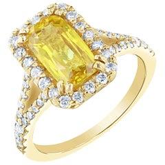 2.85 Carat Yellow Sapphire Diamond Halo Ring