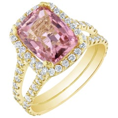 5.87 Carat Tourmaline Diamond 18 Karat Yellow Gold Cocktail Ring