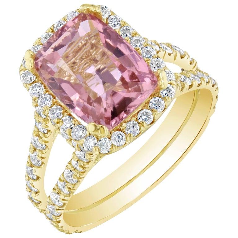 5.87 Carat Tourmaline Diamond 18 Karat Yellow Gold Cocktail Ring For Sale