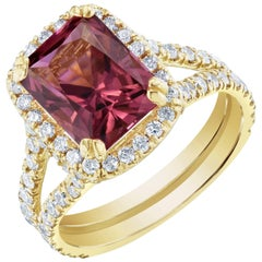 4.01 Carat Tourmaline Diamond 18 Karat Yellow Gold Engagement Ring